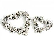 Rosenherz Grabschmuck, Rosen Blüten Herzen in 2 verschiedenen Größen zum hängen und legen - Uslar