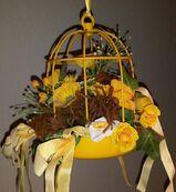Dekoration - Vogelkäfig in gelb Metall, 20 cm hoch