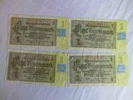 4 x Eine Rentenmark 1937 mit Kupon 1948 / DDR, Deutsche Rentenbank / Sammler - Zeuthen