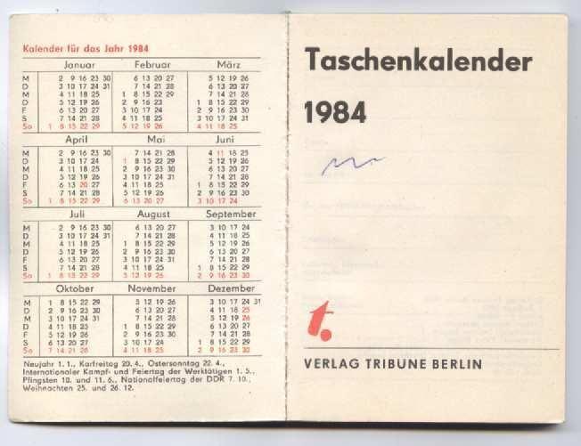 FDGB 1984 Kalender - Taschenkalenderbuch DDR - Nürnberg