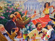 XL Ölgemälde Kuba Latina Flamenco Tanzen Lokal Champagner Havanna Frau Bar