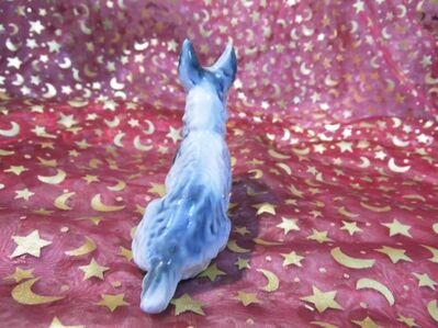 Antike Porzellan Figur Fox - Terrier, Hund / alte Tier Dekofigur, Höhe ca. 9cm - Zeuthen