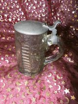 Antiker Bierkrug mit Zinndeckel / Pressglas ca.1900 / Krug mit Deckel, 0,5 L
