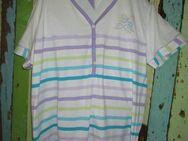 Schlafanzug mit 3/4 Hose, kurze Arme (Gr.52/54) Fliederfarben, Weiß Bunt gestreift - Weichs