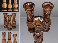 Vase aus Holz verziert Vintage Holzvase Handarbeit - Nürnberg
