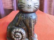 Gilde Handwerk Keramik Katze braun / Dekoration Tier Figur / Handbemalt 20,5 cm - Zeuthen