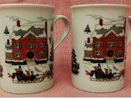 2 Kaffeebecher aus Porzellan - Winter- Weihnachtsmotive - ca. 0,25 Lt. Volumen - Groß Gerau