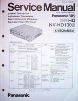 Service Manual für Panasonic Videorecorder NV-HD100, neu,original