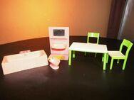 6tlg. Konvolut Puppenstube, Badezimmer Möbel JEAN+ Tisch + 2 Stühle / Bastler - Zeuthen